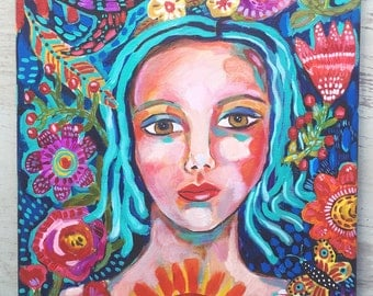 Bohemian Girl Acrylic Painting on Canvas