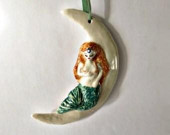 Mermaid Moon Ornament Handmaid Porcelain Miniature