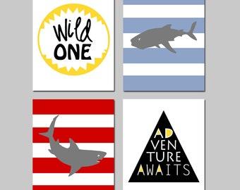 Shark Nursery Decor Shark Nursery Art Quad - Kids Wall Art - Wild One, Adventure Awaits Quote - Set of Four 8x10 Prints - CHOOSE YOUR COLORS