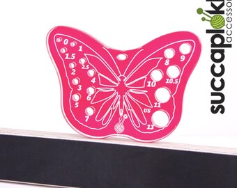 Helena-puiccomitta Imperial/Inch, Sturdy Magenta Knitting Needle gauge with US scale, Butterfly shaped gauge made out of recycled plastic