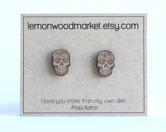Sugar Skull earrings - alder laser cut wood earrings - Halloween earrings - Day of the dead earrings - Dia de Muertos