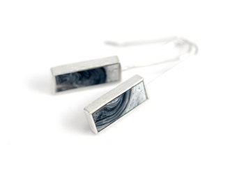 Barred Earrings - marbled black and white resin sterling silver rectangle