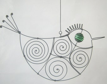 Bird Art Sculpture / Green - Eyed Wire Bird / Window Or Wall Hanging