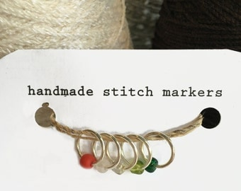"""Stitch Markers, snagless ring style, """"Cool Yule"""", set of 5"""