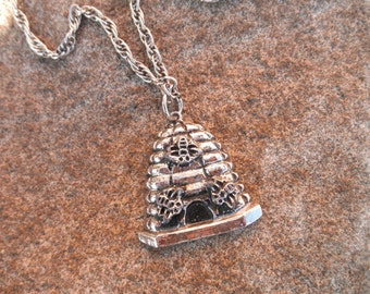Vintage Costume Jewelry Bee Skep Pendant on Silver Necklace