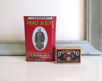 Vintage Prince Albert Crimp Cut Tobacco Tin Antique Domino Brand Matchbox Girl in Mask