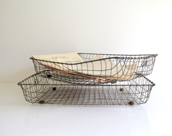 Antique Pair of Wire Baskets Vintage Office Industrial Metal Paper Organizer Office In Out Tray