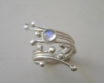 Rainbow Moonstone Sterling Silver Twig Ring.