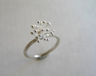 Blossoming Flower Fine Silver Ring. Botanical Jewelry.