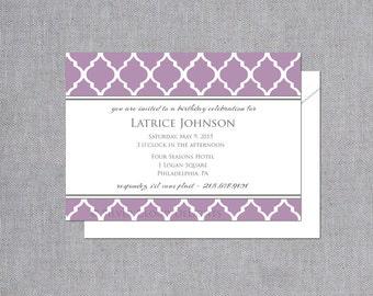 Birthday Invitation - Woman Birthday Invitations - Birthday Party Invitations - Shower Invitations - Four Leaf Clover Invite - Lavender Herb