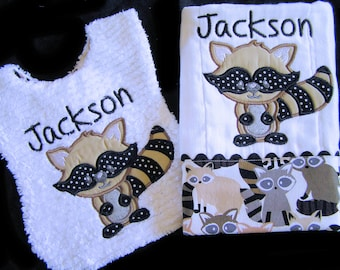 Personalized Baby Bib and Burp Cloth Gift Set - Appliqued Raccoon - Reversible - White Chenille