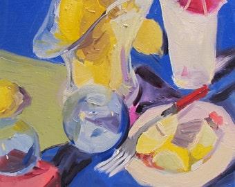 Orginal art oil painting impressionistic impressionism still life  'Lemonade' by artist Linda Hunt