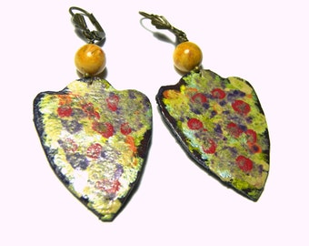 Leather Earrings Hand Painted Earrings Tribal Earrings Ethic Jewelry