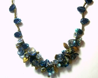 My Lady Wire Wrapped Blue Floral Leaf Statement Necklace Victorian Flower Necklace Top Selling Jewelry Design Most Popular Jewelry for Women