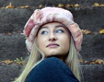 Unique felt hat Pink Felt wedding hat nuno-Felted Hat wool hat felt flapper hat art hat retro hat Bohemian hat Bridal Hat