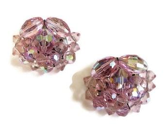 Vintage Pink Aurora Borealis Crystals Cluster Earrings