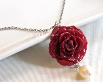 Real Flower Jewelry - Preserved Rose Necklace, Red Rose Necklace