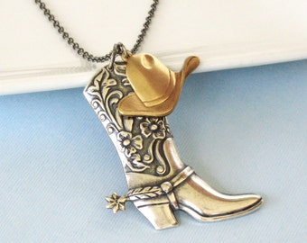 Western Boot Hat Necklace - Cowgirl, Jewelry,  Texas, Cowboy, Silver, Mixed Metal