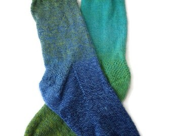 Socks - Hand Knit Men's Blue and Green Socks -  Size 9-10 - Casual Socks