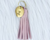 BLUSH SUEDE TASSEL + personalized gold tag