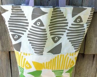Tote Bag Yellow GreenTan Fish Canvas  Ready to Ship Made in USA