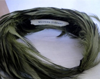 Vintage 50s Moss Green Feather Head Band // Headband // Hat // Cloche