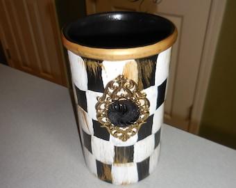 Mac Kenzie inspired Hand Painted Wine Chiller/ Utensil holder