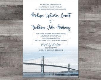 Bristol Rhode Island Wedding Invitation - Bristol Rhode Island Destination Wedding - Mount Hope Bridge wedding invitation