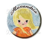 """50% OFF - Pocket Mirror, Magnet or Pinback Button - Party Favors 2.25"""" -  Personalized Name Girl blonde MR239"""