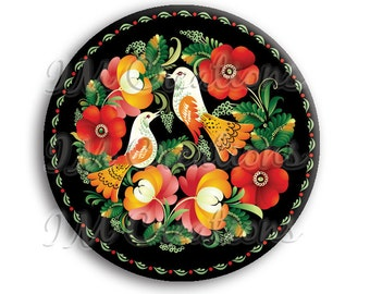 "Russian Birds Pocket Mirror, Magnet or Pinback Button - Wedding Favors, Party themes - 2.25"" MR509"