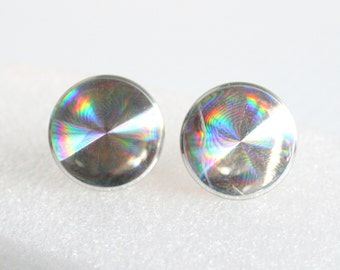 Rainbow Cuff Links Set Vintage Silvertone Iridescent Disc Cufflink