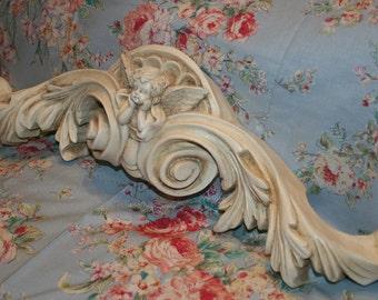 Ornate, Cherub Wall Swag, Pediment, Header Decor