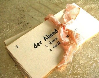 25 Vintage German Flash Cards || Word Cards || Paper Ephemera || Scrap Book Craft Mixed Media Supply