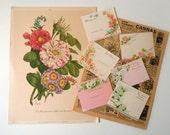 Vintage Flowers Ephemera Paper Pack | Pink Floral Inspiration Scrapbooking Kit
