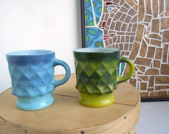 Vintage 1970s Anchor Hocking Kimberly Pattern Coffee Mugs Cups Blue Green Milk Glass Fire King