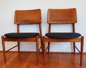 1960s Mid Century Modern Chairs, Retro, Vintage, Danish Modern, Caned,