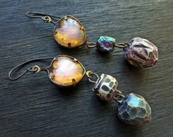 Being and Non-Being. Glowing iridescent artisan earrings with handmade beads and opal glass.