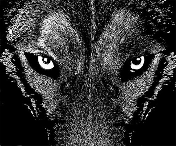 black wolf eyes animal illustration printable art digital download graphics images wildlife jpg png wolves black and white artwork download