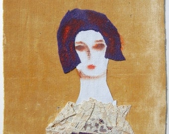 Modern Expressionism-Original Oil Collage/Fabric-Woman with a Lace Collar-André Grill