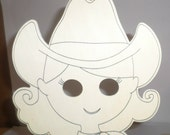 Cowgirl Mask - Wood Mask To Paint Color Mask - Kids Craft Mask - Children's Mask - Hand Held