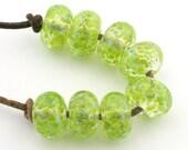 Verdant Green Handmade Glass Lampwork Beads (8 Count) by Pink Beach Studios - SRA (1250)