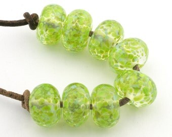 Verdant Green Handmade Glass Lampwork Beads (8 Count) by Pink Beach Studios - SRA (1250)