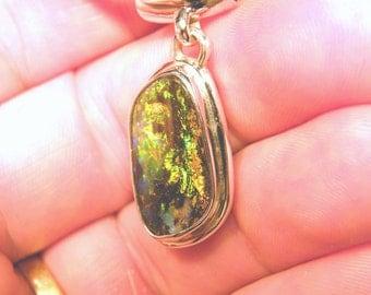 Boulder Opal Pendant, Natural Australian Boulder Opal in Sterling Silver - Item 110614