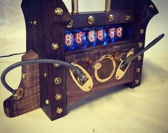 Retro Futurist Nixie Tube Mantle Clock - AAAAA Claro Walnut & Brass Edition