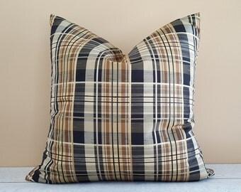 Tan Black Plaid Pillow, Brown Plaid Pillows, Tan Black Cream Pillow Cover, Cabin Pillows, Mens Throw Pillows, Winter Home Decor, 18x18