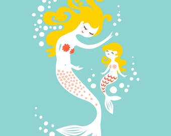"8X10"" mermaid mother & daughter giclee print on fine art paper. soft teal, coral pink, blonde"