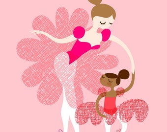 "SHOPWIDE SALE 8X10"" ballerina mother and daughter giclee print on fine art paper. adoption, mocha skin tone, brunette, pink and brown"
