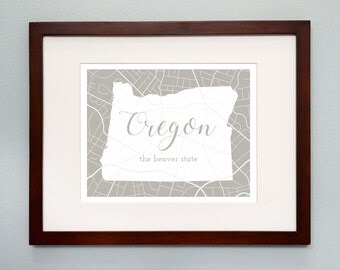 Oregon State Map Print - 8x10 Wall Art - Oregon  State Nickname - Typography - Housewarming Gift