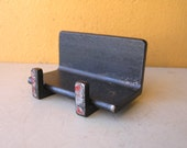 Metal Business Card Holder, Home or office Phone Card Stand, Industrial Salvage Decor, Desk Accessory, Co Worker gift, Industrial Style
