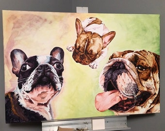"""Custom Watercolor Pet Portrait From Photo - 24"""" x 36"""" Stretched Canvas"""